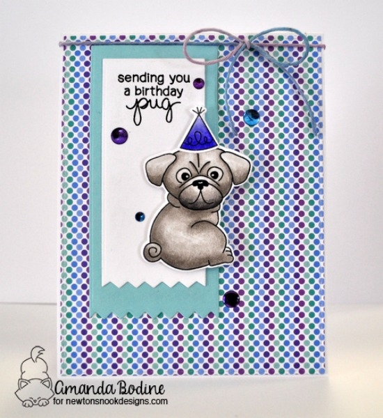 A Birthday Pug by Amanda Bodine | Pug Hugs stamp set by Newton's Nook Designs #newtonsnook