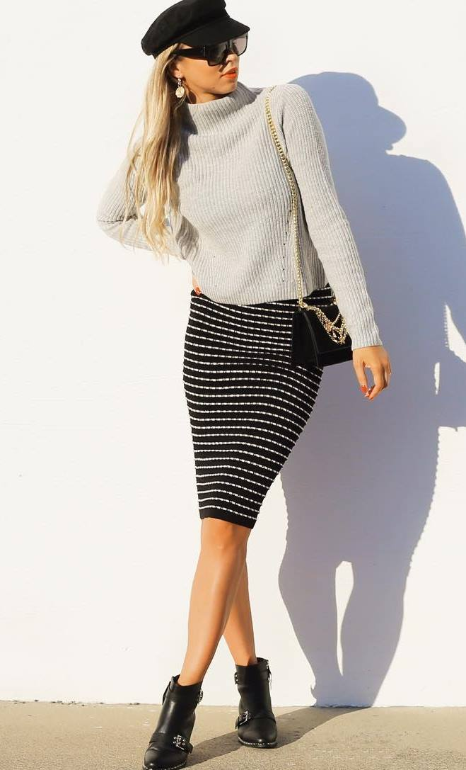 best fall outfit with a sweater : hat + pencil skirt + boots