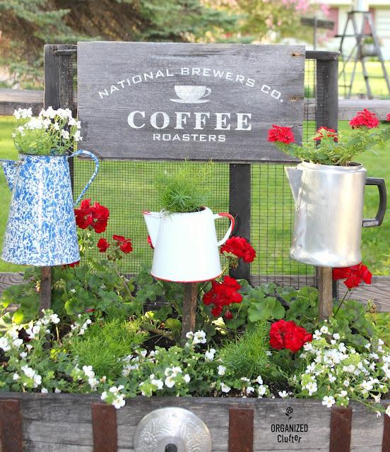 Coffeepot Junk Garden Planters organizedclutter.net