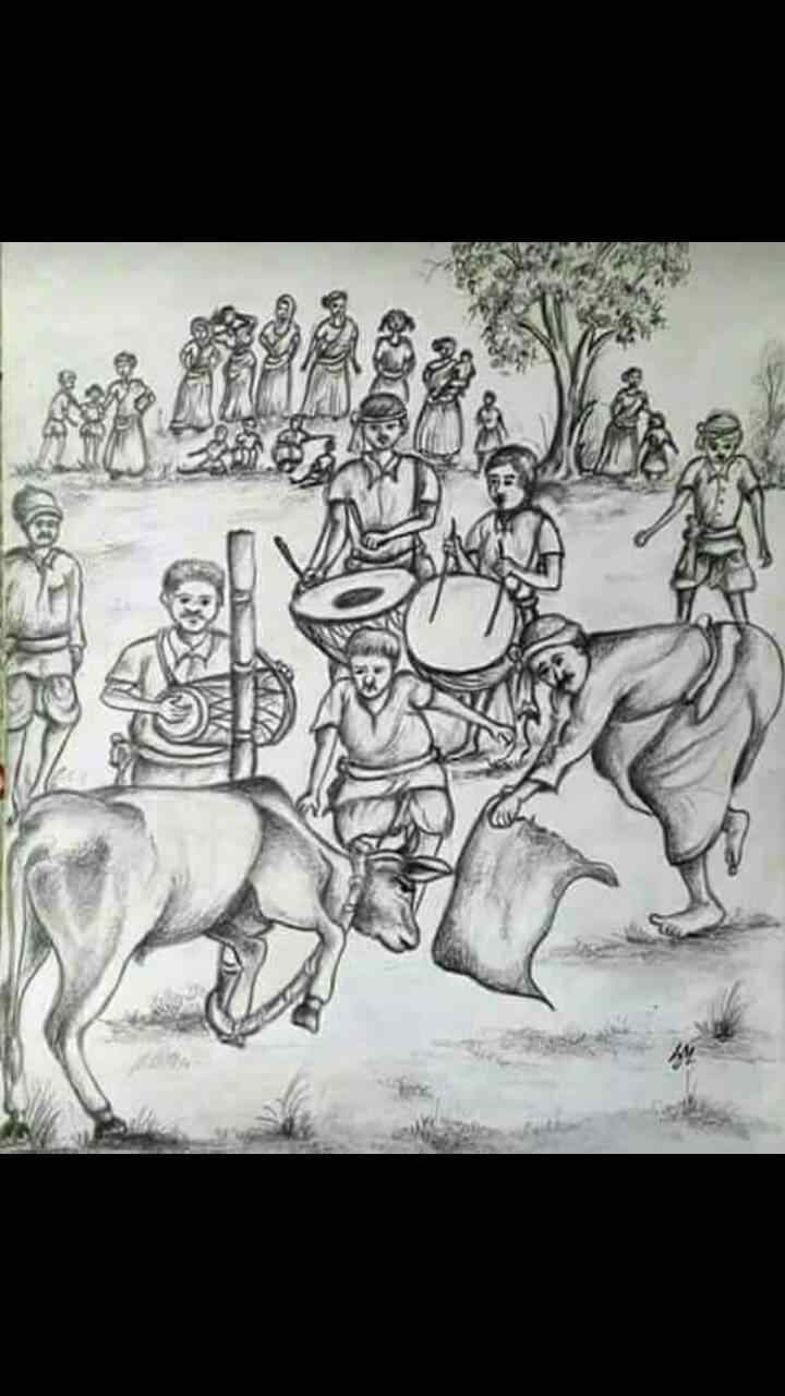 Santali Sohrai Festival Drawing Santali Culture
