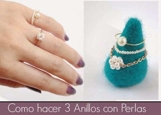 anillos, sortijas, perlas, diys, manualidades, bisutería