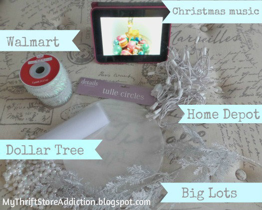 Supplies for repurposed dress form Christmas tree