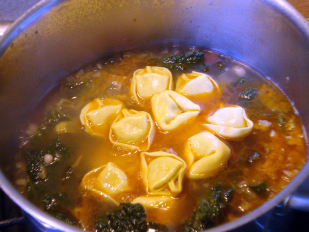 savoy cabbage and tortellini in soup