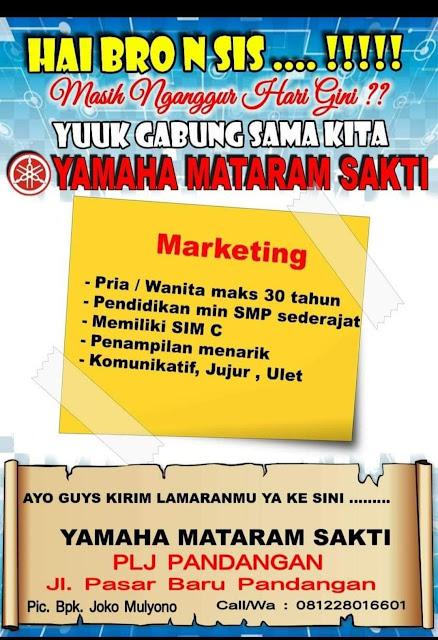 Lowongan Kerja Marketing Yamaha Mataram Sakti Pandangan Rembang