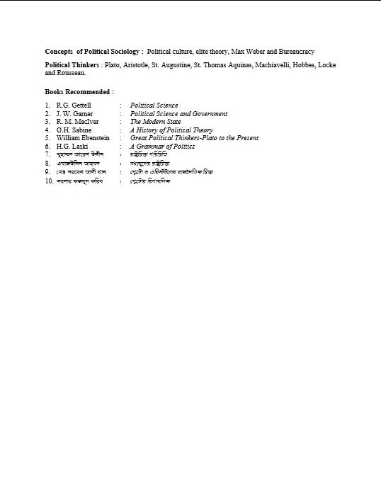 Bachelor of Arts (Honours) Syllabus Bengali H1