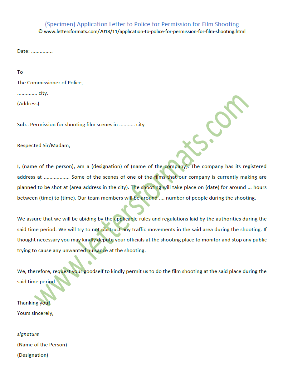 Application Letter to Police for Permission for Film Shooting (Sample)