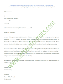 police permission letter for film shooting