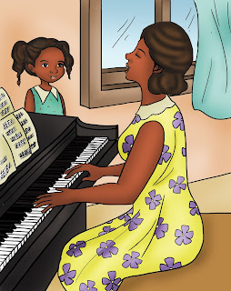 a black woman in a yellow dress plays the piano and sings while her daughter watches