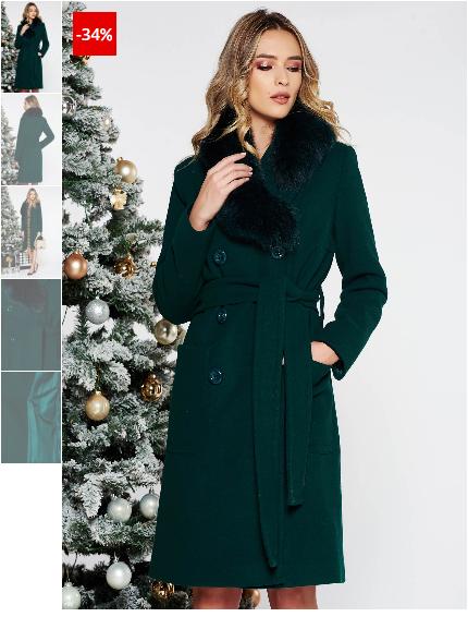 Palton LaDonna verde elegant de iarna din lana cu guler din blana naturala