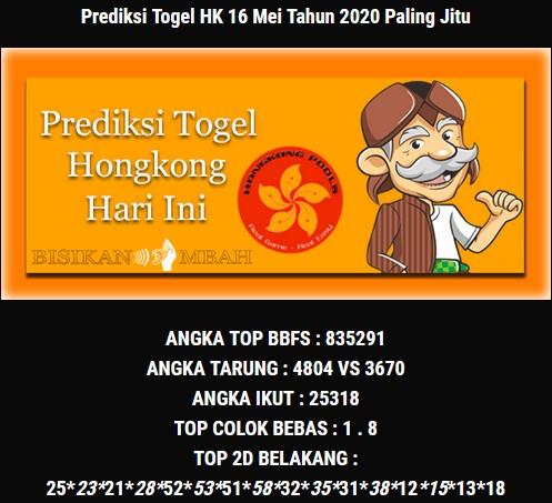 Prediksi Togel Hongkong Sabtu 16 Mei 2020 - Bisikan Mbah