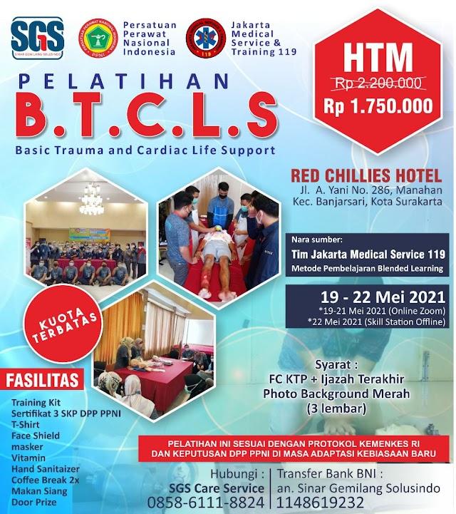 Pelatihan BTCLS- Basic Trauma and Cardiac Life Support (SKP DPP PPNI) Lokasi Surakarta