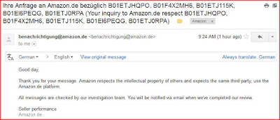 Email Acknowledgement from Amazon Germany for Copyright Infringement Complaints