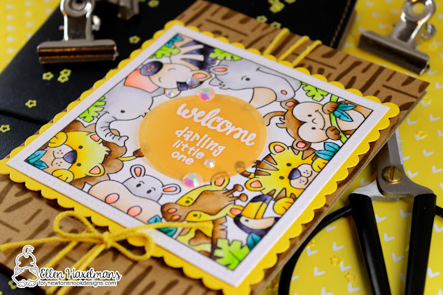Zoo Baby Card by Ellen Haxelmans | Zoo Party, Loveable Laundry and Bitty Bibs Stamp Sets, Frames Squared Die Set and Hardwood Stencil by Newton's Nook Designs #newtonsnook