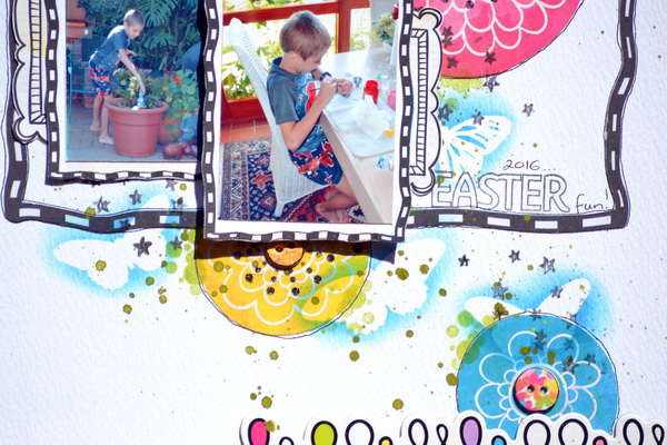 Mixed Media Layout by Denise van Deventer using BoBunny Graphite Glitter Paste and the Believe Collection