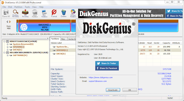 Screenshot Eassos DiskGenius Professional 5.2.0.884 Full Version