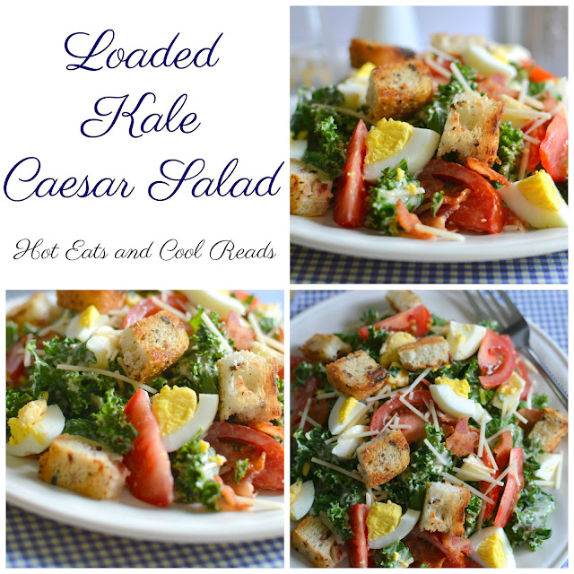 A hearty and flavor packed salad with bacon, egg, tomato, parmesan cheese and croutons! Perfect for lunch, an appetizer or side dish! Loaded Kale Caesar Salad Recipe from Hot Eats and Cool Reads