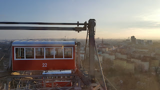 The gondolas on the Wiener Riesenrad Ferris Wheel Vienna