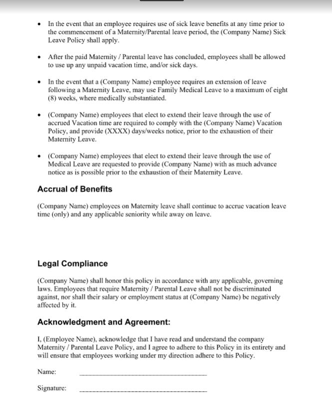 maternity leave policy examples template doc sample contracts contract templates. Black Bedroom Furniture Sets. Home Design Ideas