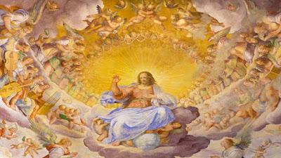 imagem de Deus com todos os anjos e santos