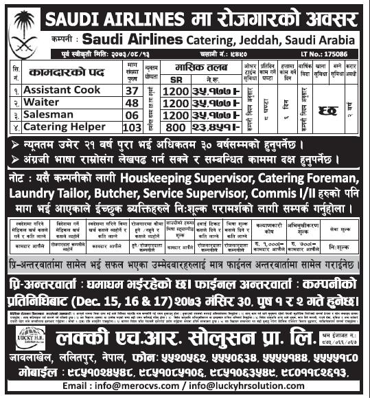Jobs in Saudi Arabia for Nepali, Salary Rs 35,177