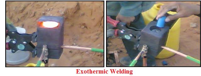 لحام حربة الارضي بسلك الارضي exothermal welding