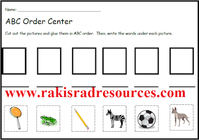free alphabetical (ABC) order center for primary literacy centers - from Raki's Rad Resources