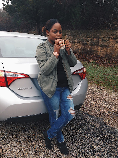 style, outfit, fashion, distressed jeans, olive green jacket, mom blogs, mom life, mommy,