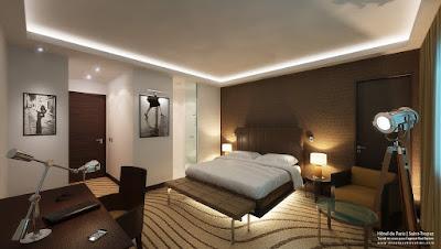 Perspective 3d chambre hôtel luxe