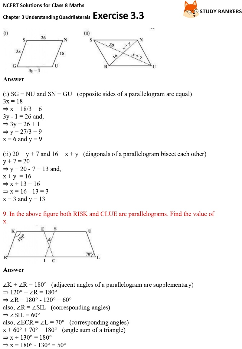 NCERT Solutions for Class 8 Maths Ch 3 Understanding Quadrilaterals Exercise 3.3 5