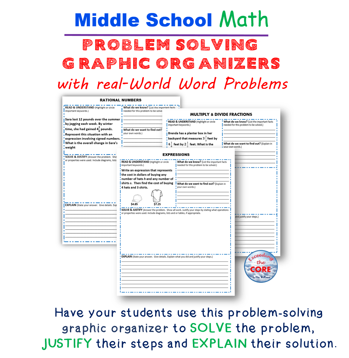 Exceeding The Core Graphic Organizers For Problem Solving