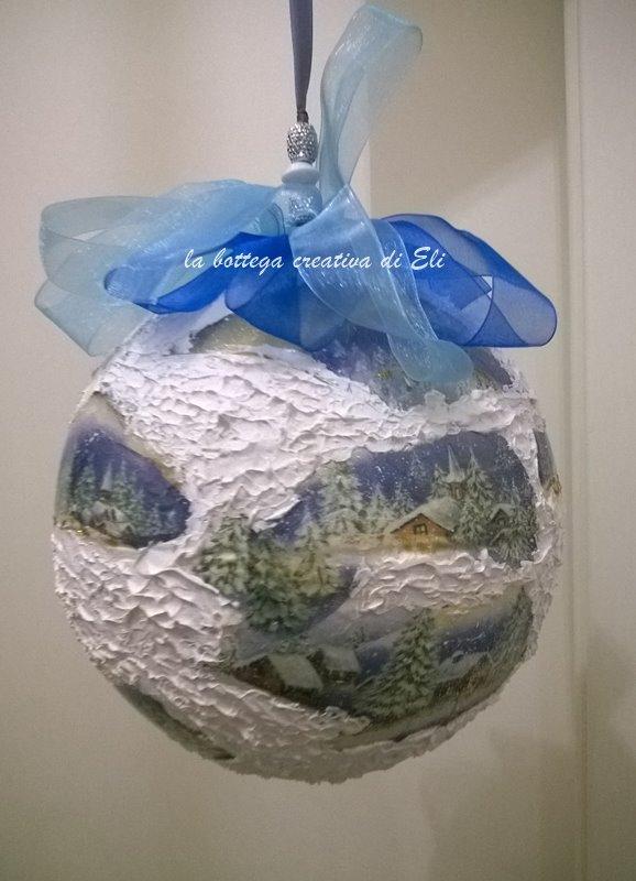 decorazione decoupage su palla di polistirolo