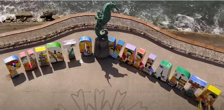 Puerto Vallarta Letras en el malecon junto al mar