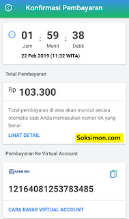Konfirmasi pembayaran di virtual account