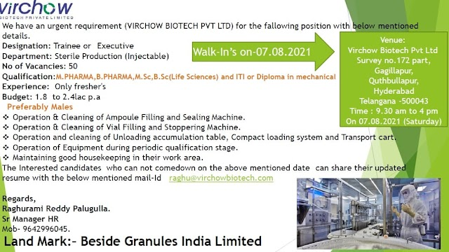 Virchow Biotech Pvt.Ltd Walk-ins For Sterile Production(Injectable) On 7th Aug 2021@Hyderabad