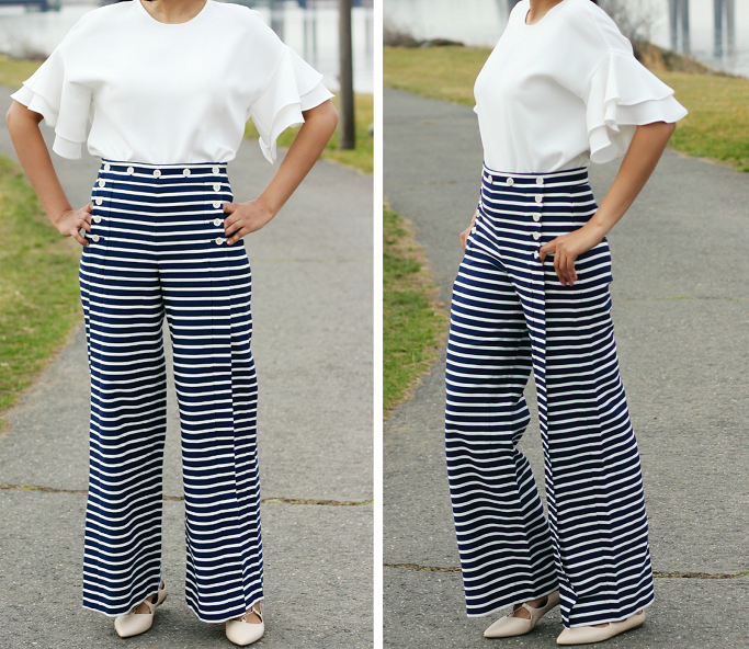 J.Crew Striped Saior Pants, J.Crew Striped Saior Pants Review, How To Wear Sailor Pants