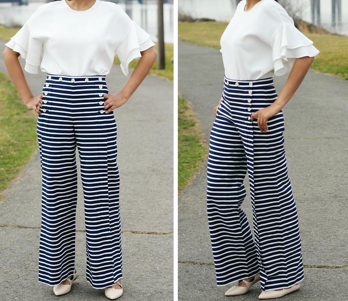J.Crew Striped Saior Pants, J.Crew Striped Saior Pants Review, How To Wear Sailor Pants