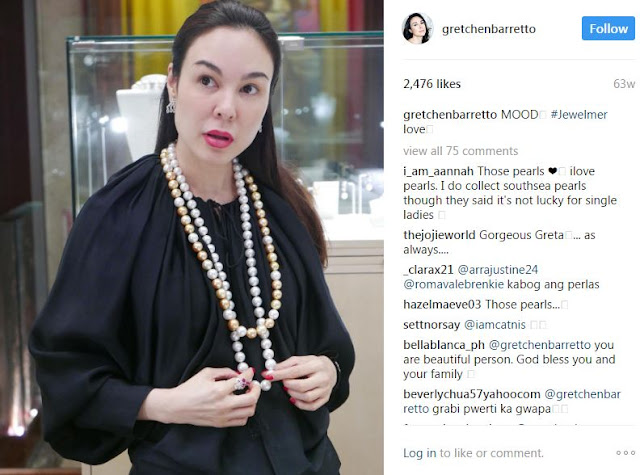 "Gretchen Barretto Shows off Her Pearl Necklace worth P8 Million! See Here How She Flaunts It with Her Ever ""Mataray"" Look!Gretchen Barretto Shows off Her Pearl Necklace worth P8 Million! See Here How She Flaunts It with Her Ever ""Mataray"" Look!"