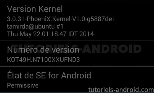 Numéro de version : Activer débogage USB Android JB et KK