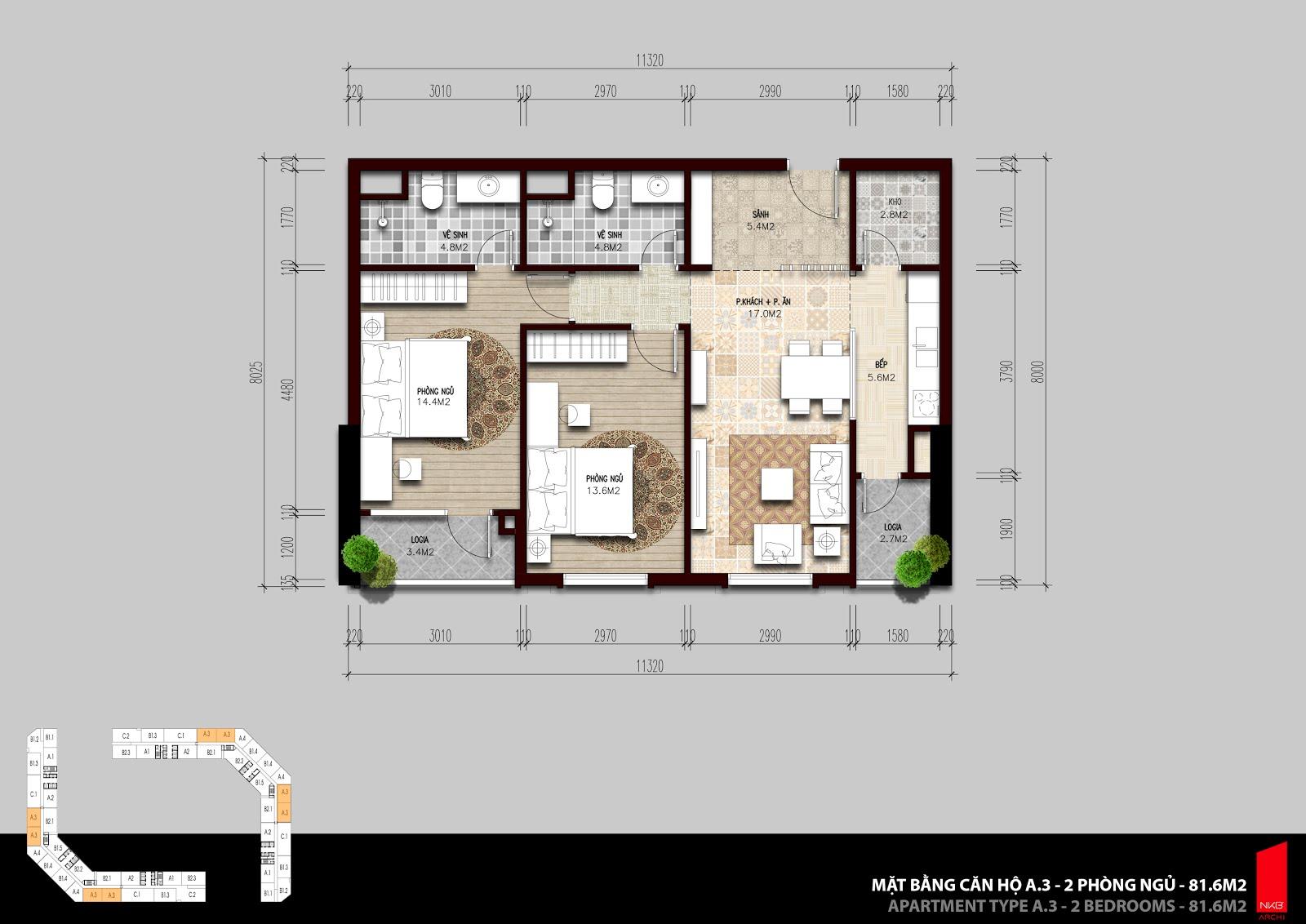 Mặt bằng căn A3 2 phòng ngủ  81.6m2 tại The Emerald Mỹ Đình