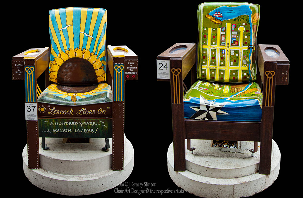 Two of the large wooden chairs bearing painted artwork designs from downtown Orillia during Streets Alive.
