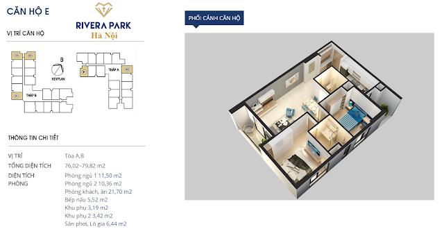 Phối cảnh căn hộ E dự án Rivera Park