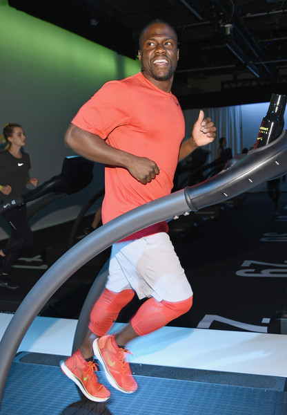 Kevin worked up a sweat on the treadmill during the Nike + Live training  and running event along with NFLer Victor Cruz. 2d0a257c6