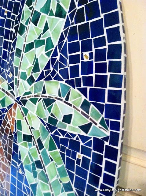 palm tree mosaic surfboard art