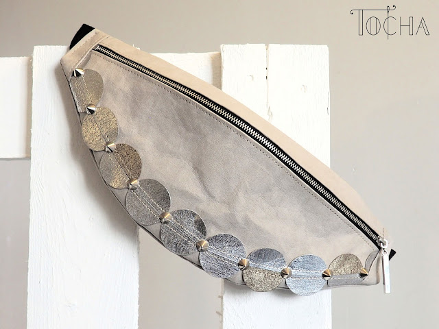 washpapa, washable paper, cotton, fanny bag, hip bag, bum bag, vegan, pleather, leatherette, silver, platinum, stone, studs, circle, etsy,