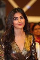 Pooja Hegde looks glamarous in deep neck sleevless short tight golden gown at Duvvada Jagannadham thank you meet function 129.JPG