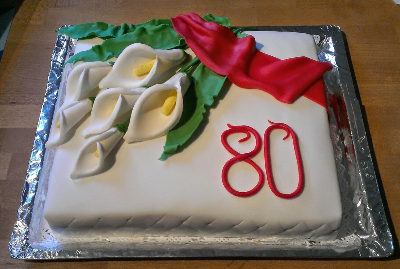 Die kleine Backstube CallaMotivtorte zum 80 Geburtstag