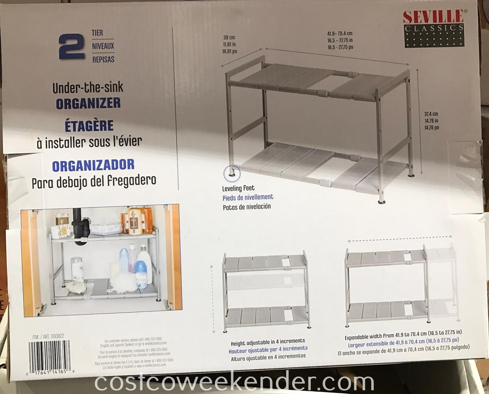 Costco 1193822 - Seville Classics 2-Tier Under-the-Sink Organizer: great for any kitchen or bathroom