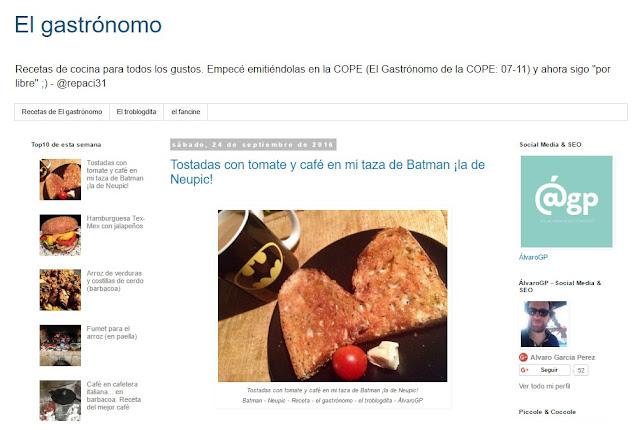 Recetas TOP10 de el gastrónomo en septiembre de 2016 - En portada mi taza de Batman en Neupic - ÁlvaroGP - el troblogdita