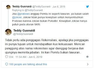 Jokowi dan Prabowo Tidak Perlu Rekonsiliasi, ini Alasannya