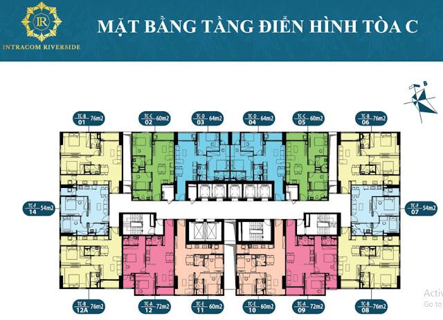 Bán cho thuê căn hộ văn phòng tòa A chung cư Intracom Riverside Nhật Tân Vĩnh Ngọc Đông Anh